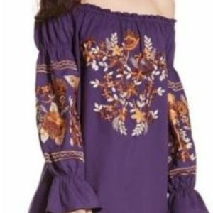 Free People Purple Floral Embroidered Shift Dress